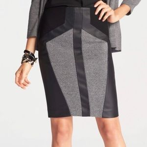 Ann Taylor Tweed Faux Leather Pencil Skirt